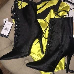 Black silk lace up heels